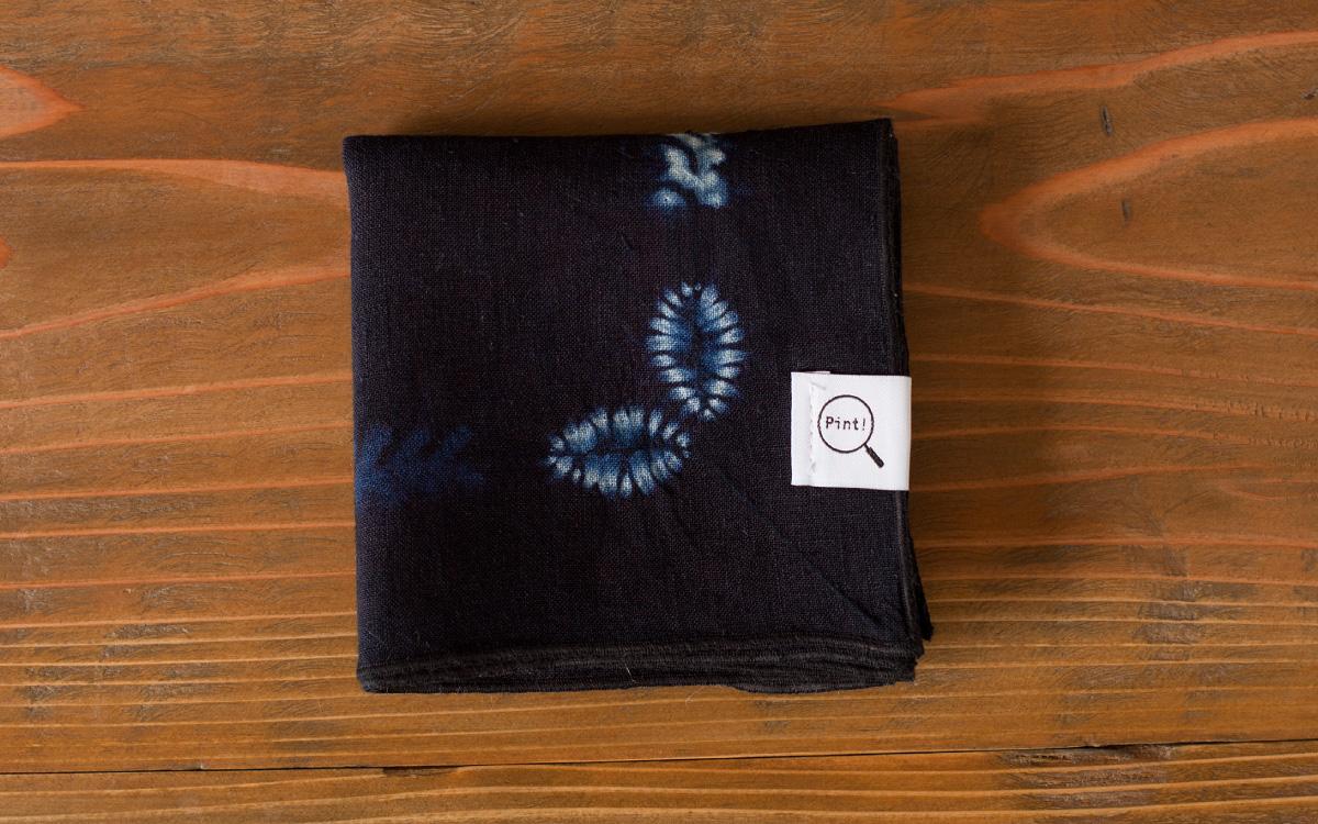 本藍絞り染めバンダナ柄ハンカチ