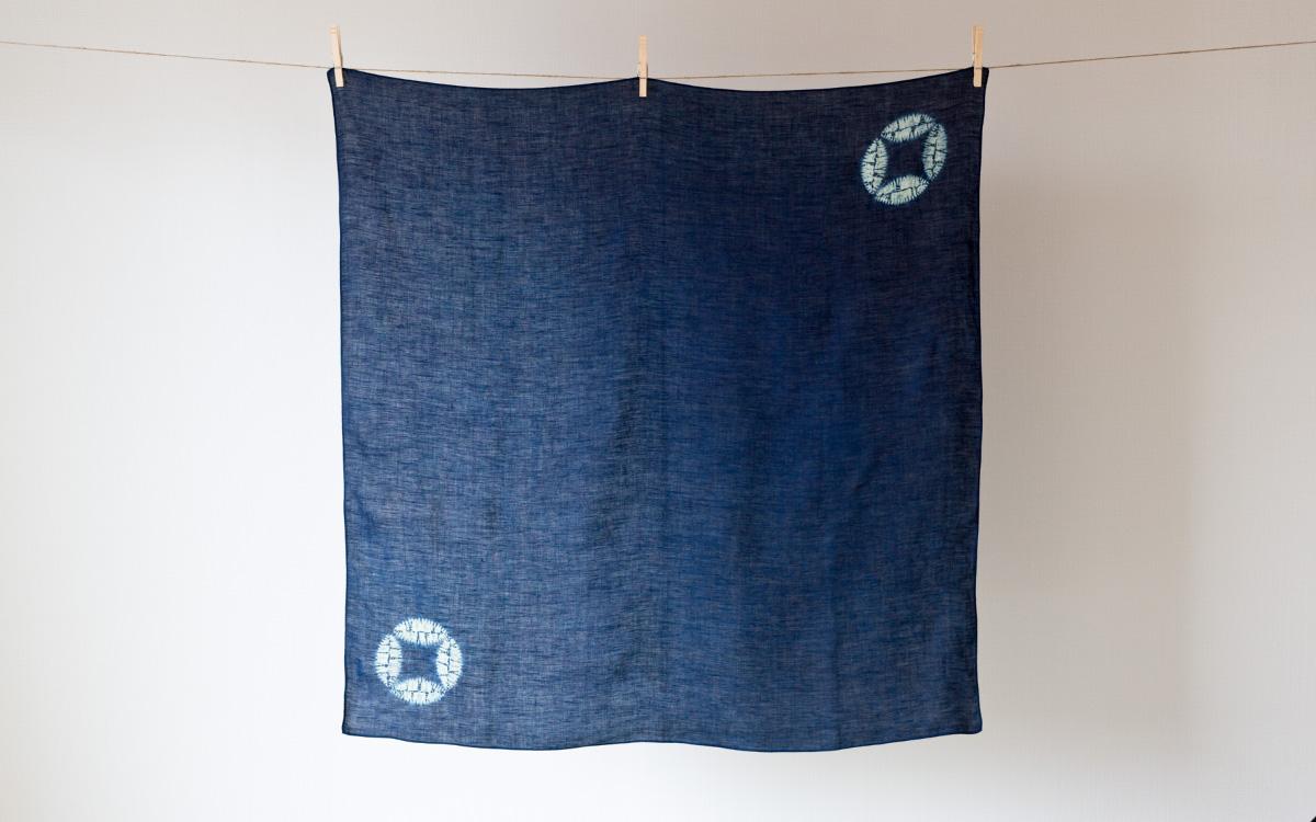本藍絞り染め六角柄風呂敷